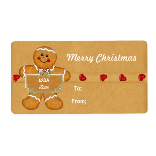 Christmas Gingerbread Man Gift Tags Shipping Label | Zazzle