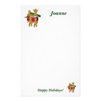 Christmas Gingerbread Men Holiday Stationery