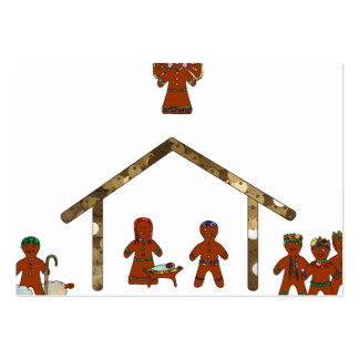 christmas gingerbread nativity large business card