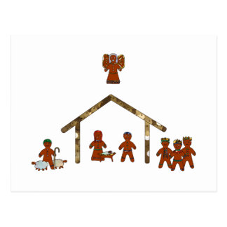 christmas gingerbread nativity postcard