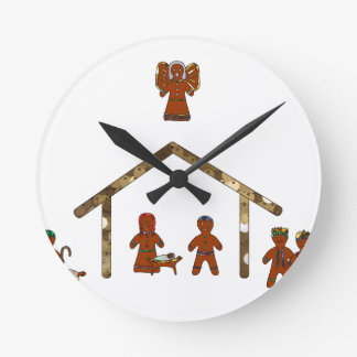 christmas gingerbread nativity round clock