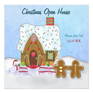 Christmas Gingerbread Open House Invitation