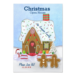 Christmas Gingerbread Open House Invite