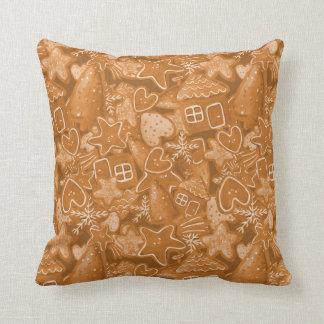 Christmas Gingerbread Pattern Throw Pillows