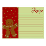 Christmas Gingerbread Recipe Cards Postcard
