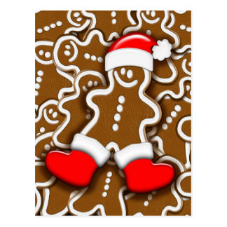 Christmas Gingerbread Santa Claus Postcard