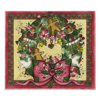 Christmas Gingerbread Wreath Art Poster