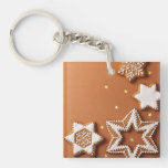 Christmas Gingerbreads With Golden Stars Acrylic Key Chain