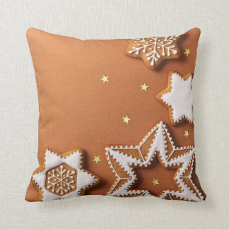 Christmas Gingerbreads With Golden Stars Throw Pillows