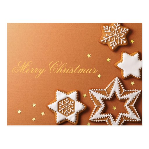 Christmas Gingerbreads With Golden Stars Post Card
