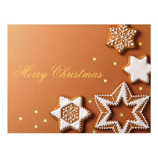 Christmas Gingerbreads With Golden Stars Postcard