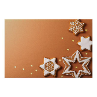 Christmas Gingerbreads With Golden Stars Print