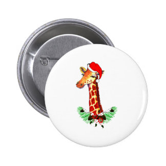 Christmas Giraffe 2 Inch Round Button