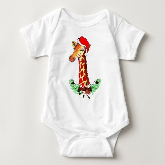 Christmas Giraffe Baby Bodysuit