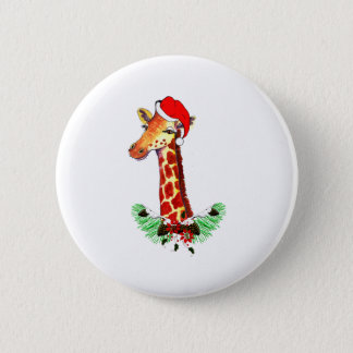 Christmas Giraffe Button