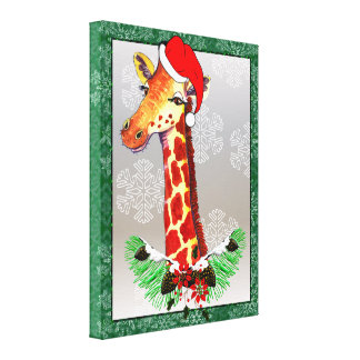 Christmas Giraffe Canvas Print