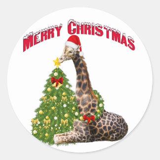 Giraffe Christmas Stickers   Zazzle