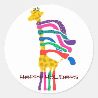 Christmas Giraffe, Happy Holidays stickers
