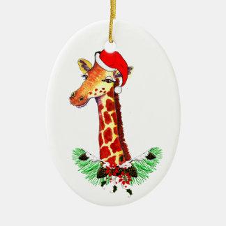 Christmas Giraffe Double-Sided Oval Ceramic Christmas Ornament