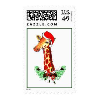 Christmas Giraffe Postage Stamps