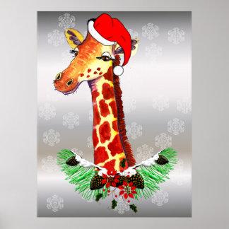 Christmas Giraffe Posters