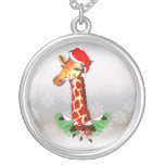 Christmas Giraffe Round Pendant Necklace