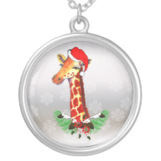 Christmas Giraffe Silver Plated Necklace