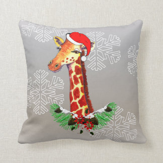 Christmas Giraffe Throw Pillow