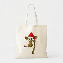 Christmas giraffe tote bag