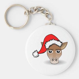 Christmas Giraffe Wearing Santa Hat Key Chain