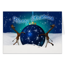 Christmas Giraffe With Giant Bauble Card
