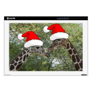"""Christmas Giraffes 17"""" Laptop Skin"""