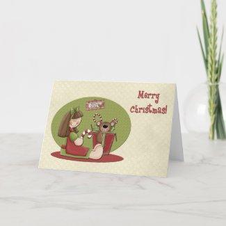 Christmas Girl Bear card