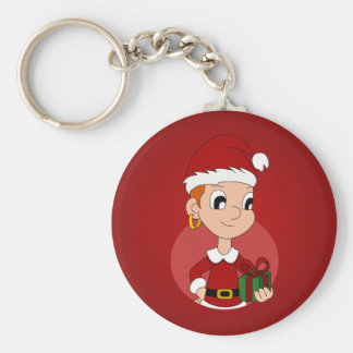 Christmas girl cartoon keychain