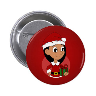 Christmas girl cartoon pinback button