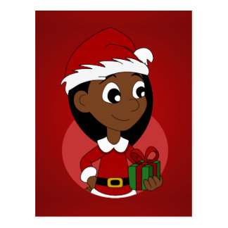Christmas girl cartoon postcard