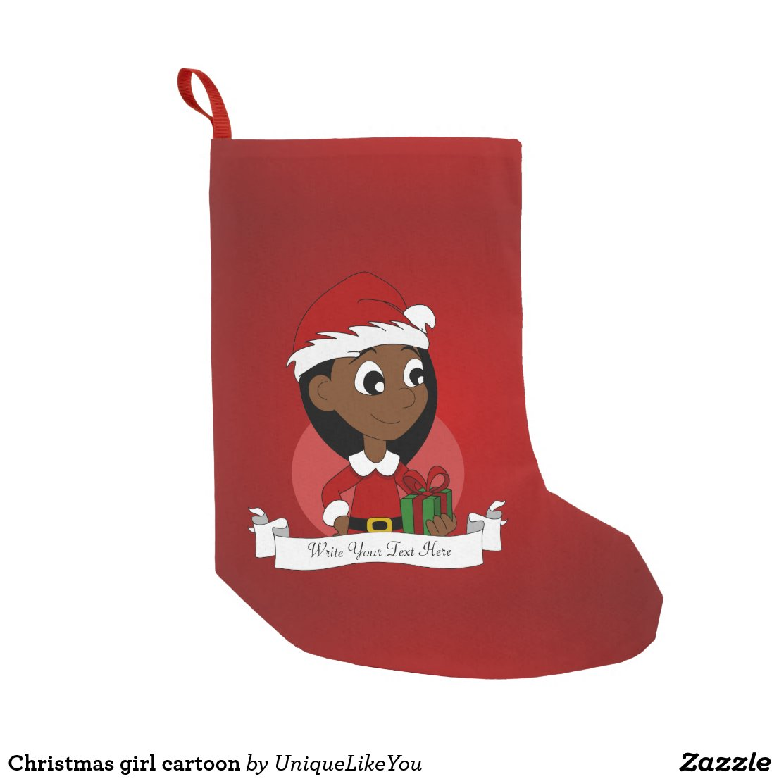 Christmas girl cartoon small christmas stocking