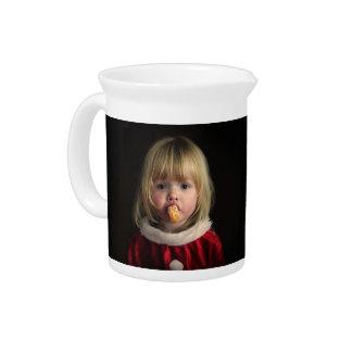 Christmas girl - christmas child - cute girl beverage pitcher