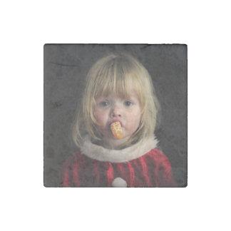 Christmas girl - christmas child - cute girl stone magnet