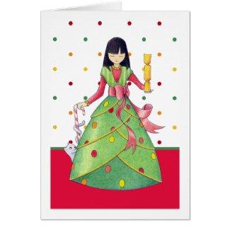 Christmas Girl dots Card card