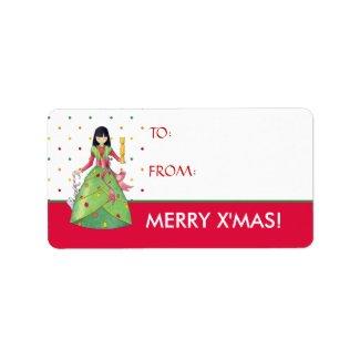Christmas Girl dots X'mas Gift Tag Label label