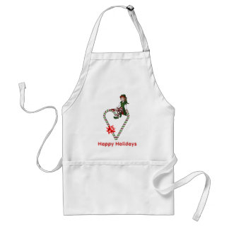 Christmas Girl Elf Candy Cane Heart Holiday Apron