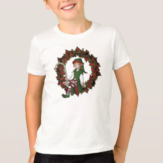 Christmas Girl Elf On Wreath Cute Holiday Shirt