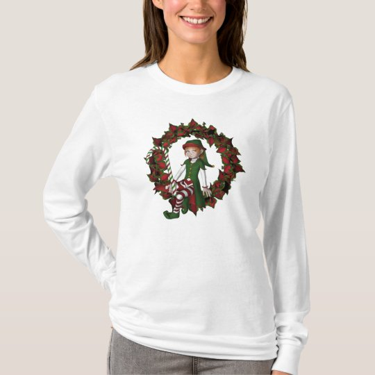 Christmas Girl Elf On Wreath Cute Holiday T-Shirt