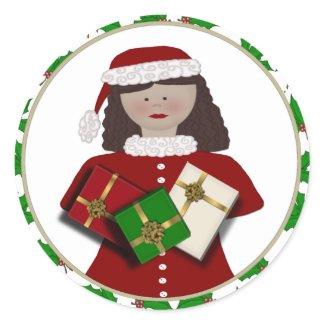 Christmas Girl Gift Stickers sticker