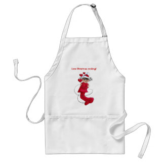Christmas girl hugging adult apron