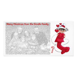 Christmas girl hugging card