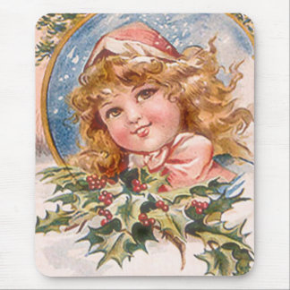 Christmas Girl in Pink Mouse Pad