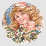 Christmas Girl in Pink Round Stickers