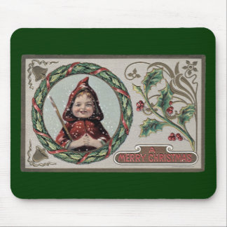 Christmas Girl in Red Hood Mouse Pad